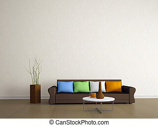 The brown sofa with four colored pillows
