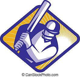 Cricket Player Batsman Batting Retro - Illustration of a...