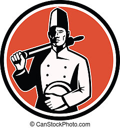 Cook Chef Baker With Roller Retro - Illustration of a cook...