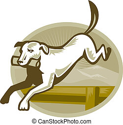 Retriver Dog Trainiing Jumping Hurdle Retro - Illustration...