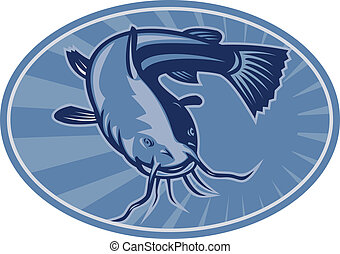 Bullhead Catfish Retro Woodcut - Illustration of a bullhead...