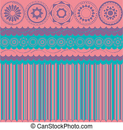 Background with stripes and circular motifs