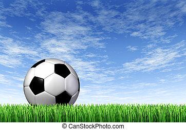 futebol, bola, capim, campo, fundo