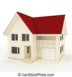 dois andares, casa, vermelho, telhado, sacada, garagem