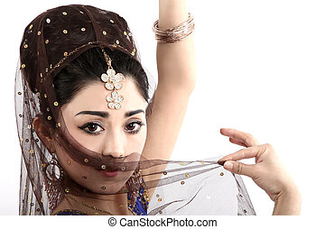 portrait of a belly dancer - belly dancer with scarf