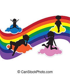 cartoon silhouettes children
