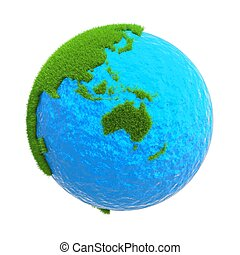 globe isolated on a white background with the mainland australia