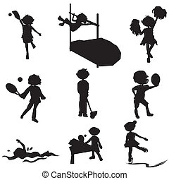 cartoon silhouettes sport children - cartoon silhouettes...
