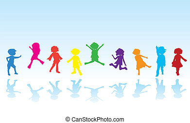 cartoon silhouettes children for children activity, fun and...