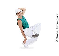 Adolescente, bailando, breakdance, acción