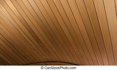 Wooden texture of the roof moves
