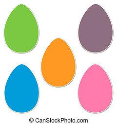 Páscoa, adesivo,  2, ovo, jogo