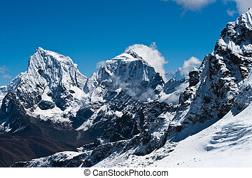 Cholatse and Taboche summits viewed from Renjo Pass at...