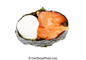 Gunkan sushi with salmon