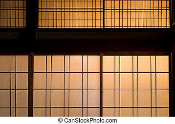 Paper sliding door - Japanese paper sliding door dyed orange...