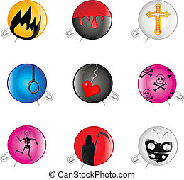 Badges with a pin - Set of icons with a pin and a sad...