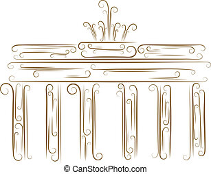 Brandenburg Gate - Sketch of the Brandenburg Gate golden...