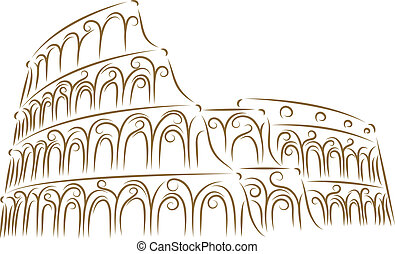 Coliseum - Sketch of the Coliseum golden brush