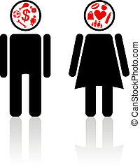 We different - Emblems of the man and the girl thinking of...