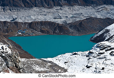 Gokyo lake and village viewed from Renjo Pass