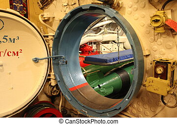 submarine - torpedo compartment on board the Russian...