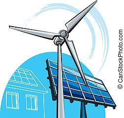 moinho de vento, solar, painel