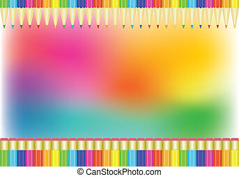 rainbow background with pencils
