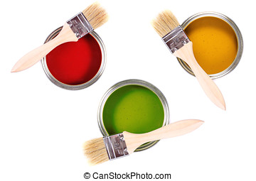colorful paint cans with brushes