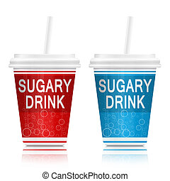 Sugary drinks. - Illustration depicting two fast food drink...
