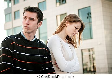 Relationship problem - couple portrait - Portrait of young...