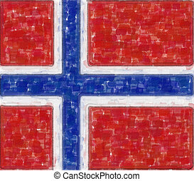 norway flag in water color