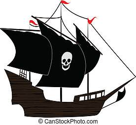 the vector Pirate sailboat