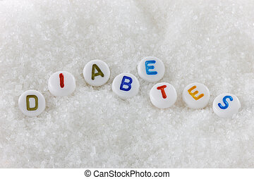 Diabetes - The word diabetes in alphabet beads on sugar