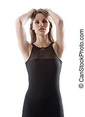 sexy blond in black mini dress