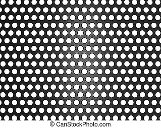 Black metal grill with holes isolated on white