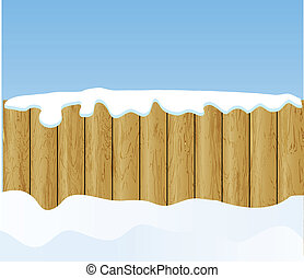 the vector winter background with wooden fence