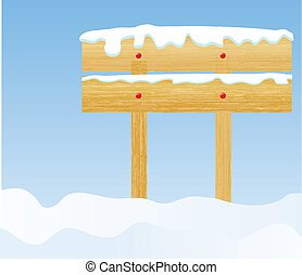 the vector winter background with wooden billboard