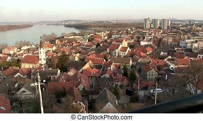 Belgrade, Zemun, Danube river, wide shot