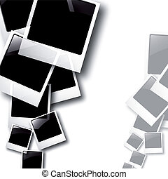 the vector polaroid photos on white background