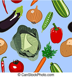 Seamless Vegetables Background - Illustration design of a...
