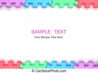 Frame puzzle on white background with copy space