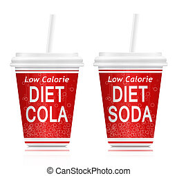 Diet drinks. - Illustration depicting two fast food diet...