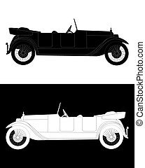 black and white silhouette of a  car