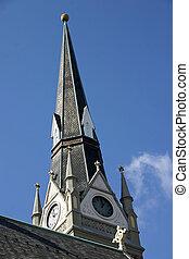 Church Steeple - An old church steeple against a sunny blue...