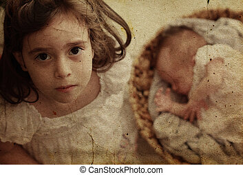 5-year-old girl with her newborn sister Photo in old image...
