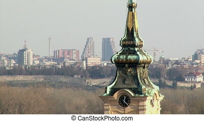 Tower, Belgrade in background - Tower in Zemun, Belgrade in...