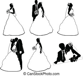Some wedding silhouettes on white