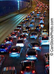 traffic on night road