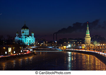 Moscow in winter night. Russia - Kind to the Moscow Kremlin...