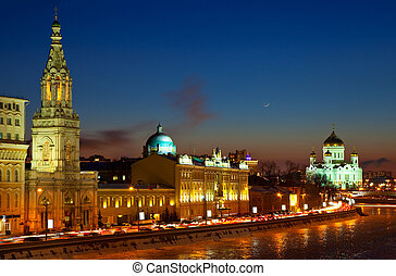 Moscow in winter night. Russia - View of Moscow in winter...